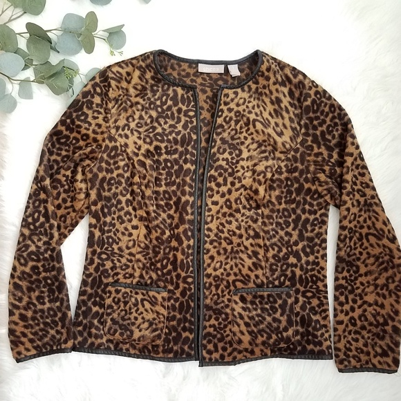 Chico's Jackets & Blazers - CHICO'S Leopard Print Open Front Jacket Size 1